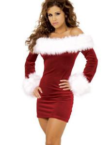 Adulti costumi di Natale delle donne costume da Babbo Natale Deluxe velluto manica lunga Red Girl Dress natale di Natale del costume Plus Size