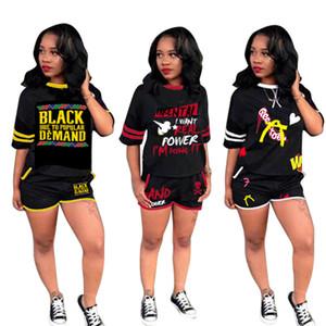 Tasarımcı Eşofman Kadın Iki Parçalı Kıyafetler Mektup Baskı 2 Parça Şort Set Siyah 1 2 Kollu Üst Cep Şort Kırmızı Sarı Beyaz S-2XL Suits
