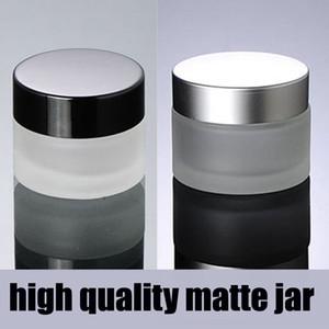 15 г 20 г 30 г 50 г 100 г матовое серебро / черная крышка стеклянные косметические контейнеры крем баночка, бутылка из матового стекла для косметической упаковки