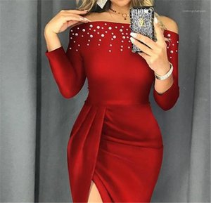 Sexy Split Ruched Beads Panelled Womens Dresses Womens Designer Luxury Clothes Slash Neck Womens Designer Dresses