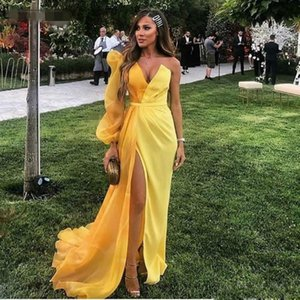 Yellow Dubai Formal Evening Gowns Long Sleeve One Shoulder Party Dress Sexy High Split Chiffon Long Prom Dresses