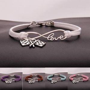 Hot 10pcs / lot Infinity Love 8 Bracelet Drapeau / drapeau à damier Pendentif Charme Femmes / Hommes Simple Bracelets / Bracelets Bijoux Cadeau A138