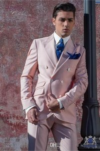 New Fashion Pink Groom Tuxedos Excelente Groomsmen Blazer Double-Breasted Slim Fit Men Partido Business Prom Suit ((jaqueta + calça + gravata de pureza) 0
