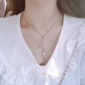 D Семья / Di семья 2020 CD письмо звезда Pearl полный горный хрусталь кисточкой ожерелье кулон колье женщина