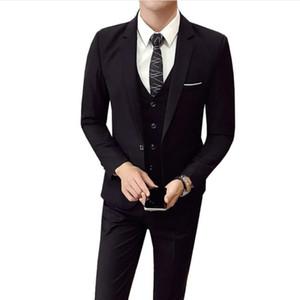 (Jacket+Pant+vest) Men Wedding Suit Male 3 Pieces set Korean version Blazers Slim Fit business suit fashion Formal Costume Men suit