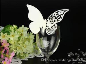 Decorazioni di nozze elegante Laser Cut farfalla Wine Glass carte della festa nuziale della Tabella Cake Toppers Escort Nome Cards