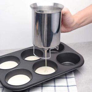 Herramientas de acero de 900 ml Pancake Batter Masa dispensador inoxidable Dispensador de repostería para hornear el pastel de galletas Gadgets Accesorios de Cocina