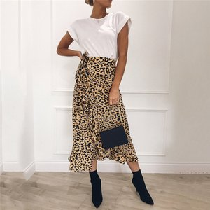 Hot Summer Sexy Women Lace Up Skirts Fashion High Waist Ruffles Loose Slim Long Wrap Skirt Ladies Leopard Beach Clothing Female