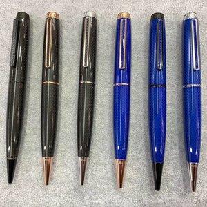 6 colores de alta calidad hublo azul de fibra / Negro clásico de la textura del barril de escritura sin problemas lujo de la manera Bolígrafo + 2 recambios + regalo de la felpa de la bolsa