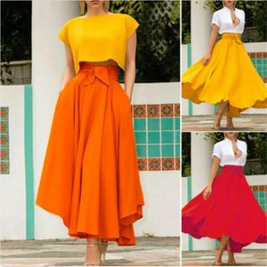 Women Vintage High Waist Skirts Lady Maxi Pleated Skirt Long Maxi Fashion Skirt Females Full Length Solid Color Skirts Ho