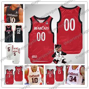 2019 Cincinnati Özel Herhangi İsim Numarası Dikişli Kırmızı Beyaz Siyah # 3 Chris McNeal 12 Oscar Robertson 22 Jaume Sorolla NCAA Basketbol Forması