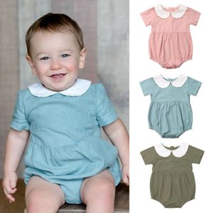 Girl Dress 2019 Summer Newborn Infant Baby Girl Short Sleeve Doll collar Bodysuits Jumpsuit Summer Outfit Clothes 0-2Y