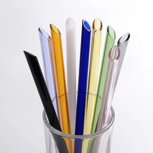 Многоразовый Eco боросиликатного стекла трубочки Clear Цветные Бент Straight соломы 20см * 8 мм Молочный коктейль трубочки DBC BH3548