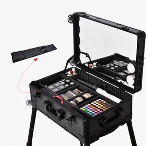 Viagem Professional Caso Cosmetic com 8 LED, Espelho 22inch, Trolley e Legs, Estação de maquilhagem Box Makeup
