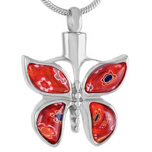 nueva plata z526 Hermosa joyería de cristal de Murano de la mariposa de la cremación para cenizas mascotas - collar de urna Memorial Engravable acero inoxidable
