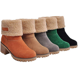 Winter Women Snow Boots Square High Heels Ladies Chaussure Warm Fur Shoes Woman Cute Booties Winter Snow Ankle Booties Cover