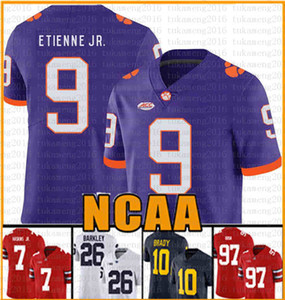 NCAA Clemson Tigers Trevor Lawrence Travis Etienne Jr. football americano Jersey 2019 maglie di patch vendita a buon mercato Tom Brady Saquon Barkley TVTFU