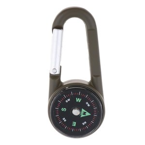 3 In 1 Multi Tool Carabiner Buckle w  Compass Keyring Thermometer Camping Keychain Hiking Travelling Climbing Backpack Hunting