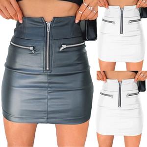 Saias Mulheres PU Leather Zipper saia de cintura alta lápis Bodycon mini-saia curta de base sólida magro sólido Verão senhoras 2020