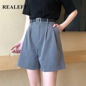 REALEFT 2020 New Summer formelle Shorts Avec Ceinture Taille Haute Chic Large Jambe Shorts Coréenne Style Élégant Lâche Pantalon Poche