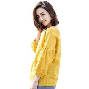 Inman 2019 Yeni Ürünler Kadın Bahar Giysileri V Yaka Pamuk Lady Gömlek Ve Keten Kazaklar Uzun Kollu Gevşek Bluz Y190510