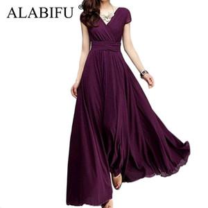 Alabifu Langes Sommerkleid Frauen 2019 Casual Sexy Solide Maxi Party Kleid Chiffon Strandkleid Plus Größe 5xl Weiß Vestido Ukraine S415