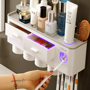2 3 4 Cups Toothbrush Holder Automatic Toothpaste Dispenser With Cup Wall Mount Toiletries Storage Rack Bathroom Accessories Set
