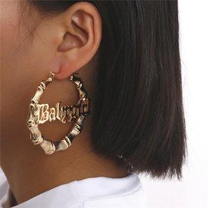 Circle Round Bamboo Hoop Boucles d'oreilles pour femmes Lettre creuse Or Argent Couleur Vintage Boucle d'oreille 2020 Punk boucles d'oreilles de bijoux