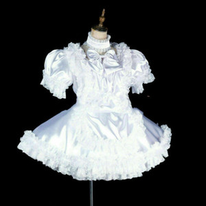 weiß abschließbar Sissy Boy maid mini Queraufbereiter Maß Cosplay Kleid