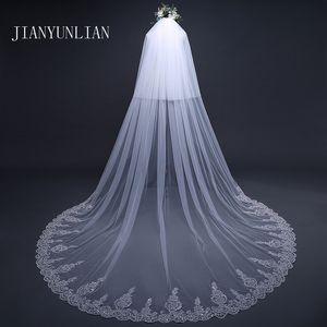 Mode 5 Meter Schleier Hochzeit Lange Spitze-Rand-Brautschleier mit Kamm Hochzeit Zubehör sluier Vestido de noiva Voile de mariee