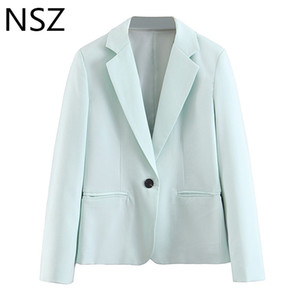 NSZ Женщины Sky Blue Blazer одной кнопки Офис куртка с длинным рукавом Solid Work пальто Blazer Mujer