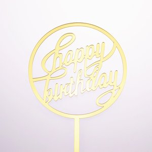 20 adet Kek Toppers Bayrakları Mutlu Doğum Günü Çocuklar Altın Gümüş Akrilik Kek Topper Düğün Gelin Parti Bebek Duş Pişirme DIY dekor