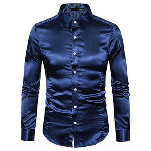 2019 Automne Nouveau long de satin de soie hommes Chemise à manches mariage vintage Tuxedo chemises couleur unie Chemise en soie