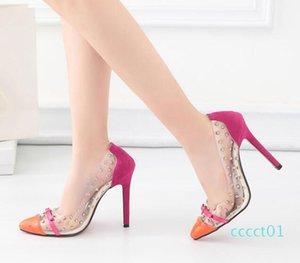 Sıcak Satış Patchwork Kırmızı Alt Yüksek Topuklar Seksi Kadınlar 40 CT1 boyutu 35 Pompa Ayakkabı Çivili perçinler