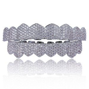 Micro Pave Zirkonia Silber Gold Farbe Zähne Grills Hiphop Rocker Halloween Iced Out Caps