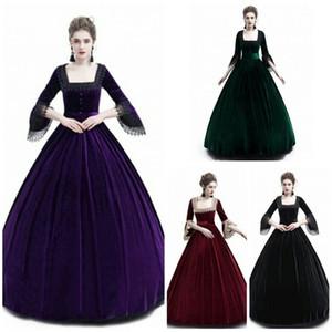 유럽과 미국의 트럼펫 소매 단색 스티치 복고풍 드레스 다섯 점 소매 드레스