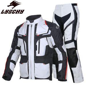 LYSCHY 3 katmanlı Touring Binme Motosiklet Ceket Pantolon Moto Body Armour Suit Giyim Coat Rider chaqueta Enduro Yağmurluk Ceketler