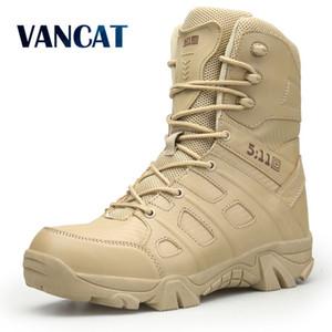 Vancat Hombres Marca de alta calidad Botas de cuero militar Fuerza especial Táctico Desierto Combate Hombres Botas Zapatos al aire libre Botines