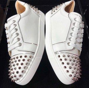 Branco Preto Casual couro genuíno com Spikes sapatilhas vermelhas sapatos de fundo Homens Seavaste 2 Orlato Plano Low Top Casual EU35-47 Walking