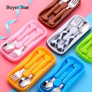 Acheteur Star Baby Art de la table Cuiller portable enfants soupe fourchette Set Cochleare Vaisselle Mignon Nourrir bébé Ustensiles Kindergarten