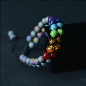 Doble capa 7 chakras de piedra natural, rocas de lava pulsera de la turquesa de las mujeres para hombre pulseras de la joyería de moda brazaletes voluntad y el regalo de arena