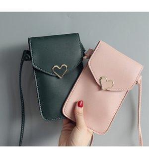 Hot women handbags Crossbody Purse Shoulder Messenger Wallet Mobile Phone Leather bag Heart-shaped decoration transparent touch scree