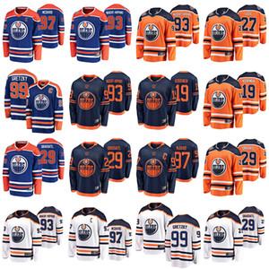 Edmonton Oilers Jerseys Mens 99 Wayne Gretzky Jersey 27 Milan Lucic 93 Ryan Nugent-Hopkins Ice Hockey Jerseys Womens costurado Juventude