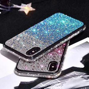 그라데이션 라인 석 케이스 아이폰 (11) 아이폰 XS 8 7 플러스 화웨이 P30 삼성 프로 XR 프로 맥스 블링 반짝이 다이아몬드 전화 커버를 들어