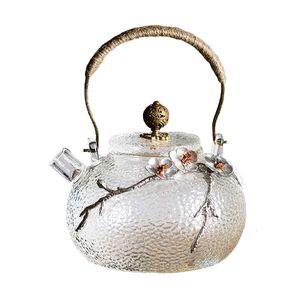 Retro Hammer Pattern Japanese Glass Teapot Handmade Heat Resistant Glass Tea Kettle Pot with Bronze High Handle 650ml   22 oz