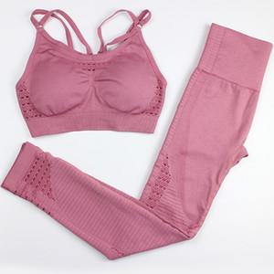Бесшовные Йога наборы Gym 2 Piece Set Workout Одежда для женщин Фитнес Одежда Спортивная спорта бюстгальтер и гетры Set Sports Wear