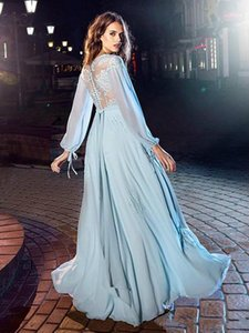 2020 Prom Dresses A Line V Neck Lace Applique Chiffon Evening Gowns With Long Sleeve Floor Length Formal Dresses