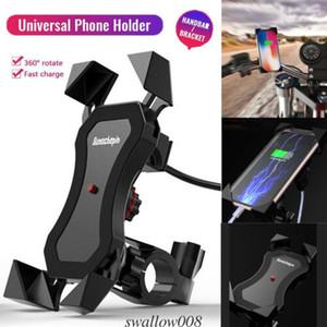 Téléphone Moto Moto Universal Mobile Holder X Grip Support de fixation USB Charge 360 ° Vélo Moto Vélo Téléphone Mont Holder