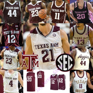 Personalizzato Texas AM Aggies Basketball Maglia NCAA College Khris Middleton Alex Caruso Josh Nebo Flagg Mitchell Jackson Danuel Casa Sloan