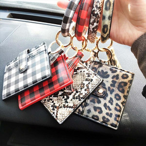Bracelet Keychain Wallet Leopard Snake PU Leather Tassel Women Card Bag Women Clutch Wristlet Keyring Novelty Items 100pcs OOA8090